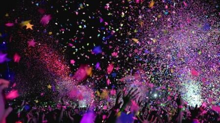 festival, coloré, musique, groupe, gens, confettis, amusement