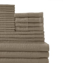 Baltic Linen Company Multi Count 100-Percent Cotton Complete 24-Piece Towel Set, Taupe