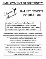 $20 - Advanced Ballet & Pointe Teacher