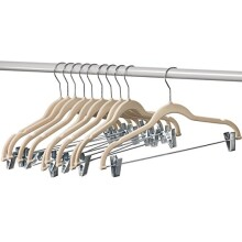 Home-it 10 Pack Clothes Hangers with clips IVORY Velvet Hangers use for skirt hangers Clothes Hanger pants hangers Ultra Thin No Slip