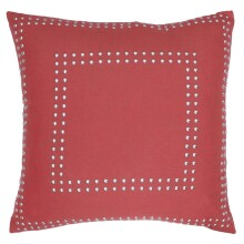 Square Gaga Double Nailhead Pillow - Coral Spice