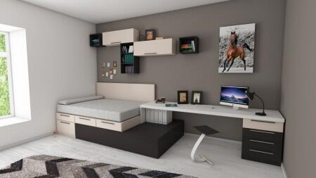 bed, room, desk, wall, art, rug