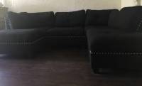 Cute 3-piece sectional sofa with chaise lounge and ottoman
