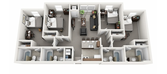 The Courtyards Student Apartments 1 Bedroom 1 Bath - North Campus (EXTREME BARGAIN)