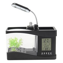 Caveen Mini USB LCD Desktop Lamp Light Fish Tank Aquarium LED Clock with 6 modes of tranquil nature sounds, fish tank ornaments.
